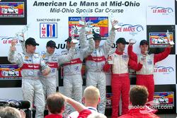 The podium: race winners Emanuele Pirro and Frank Biela with Tom Kristensen, Rinaldo Capello, David Brabham and Jan Magnussen