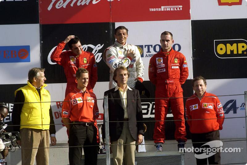 360 Challenge podium: race winner Luigi Moccia with Michael Schumacher, Luca di Montezemelo and Jean Todt