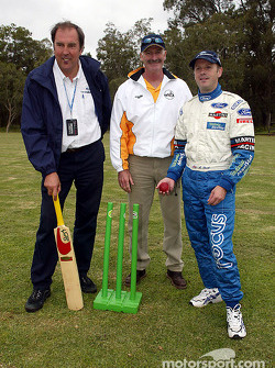 Ford team members Phil Short and Michael Park with Australian cricket legend Dennis Lilley