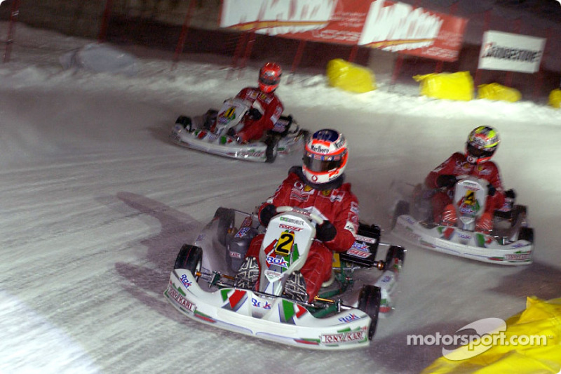 The kart race: Rubens Barrichello, Luciano Burti and Michael Schumacher