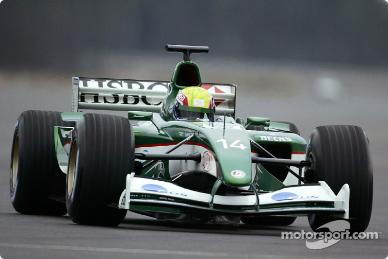 Mark Webber during the new Jaguar R4 shakedown test at Ford's Proving Ground in Lommel, Belgium