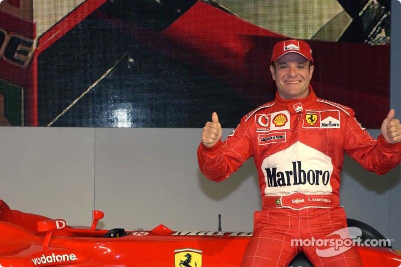 Rubens Barrichello with the new Ferrari F2003-GA