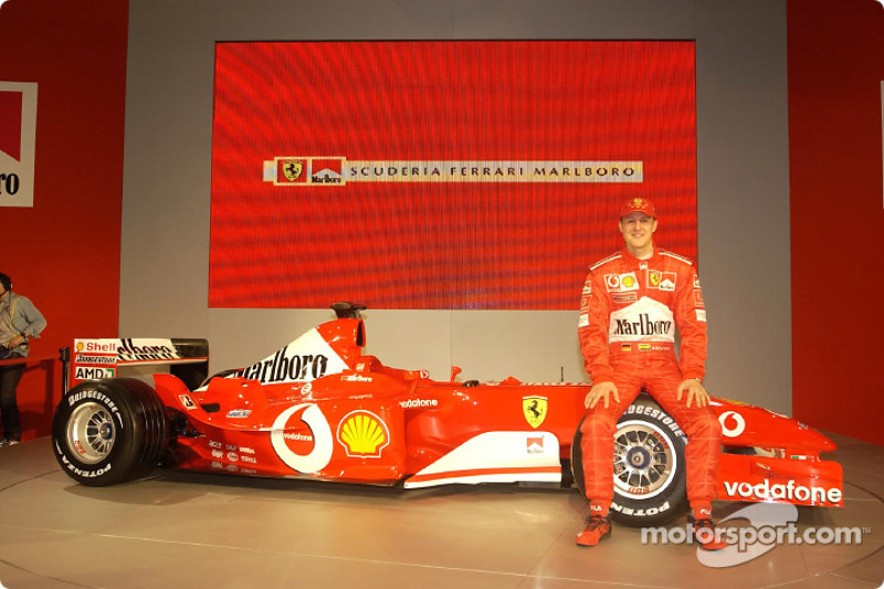 Michael Schumacher with the new Ferrari F2003-GA