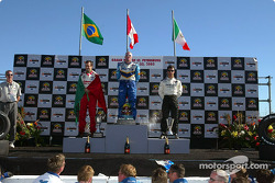 The podium: race winner Paul Tracy with Michel Jourdain Jr. and Bruno Junqueira