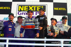 The podium: GTS winners Jon Leavy and Kenny Bupp with Mandy Gonzalez, Wally Castro, Joao Barbosa and Michel Neugarten