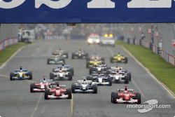 The start: Michael Schumacher takes the lead in front of Rubens Barrichello