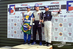 The podium: race winner Alan van der Merwe with Nelson A. Piquet. and Ronnie Bremer