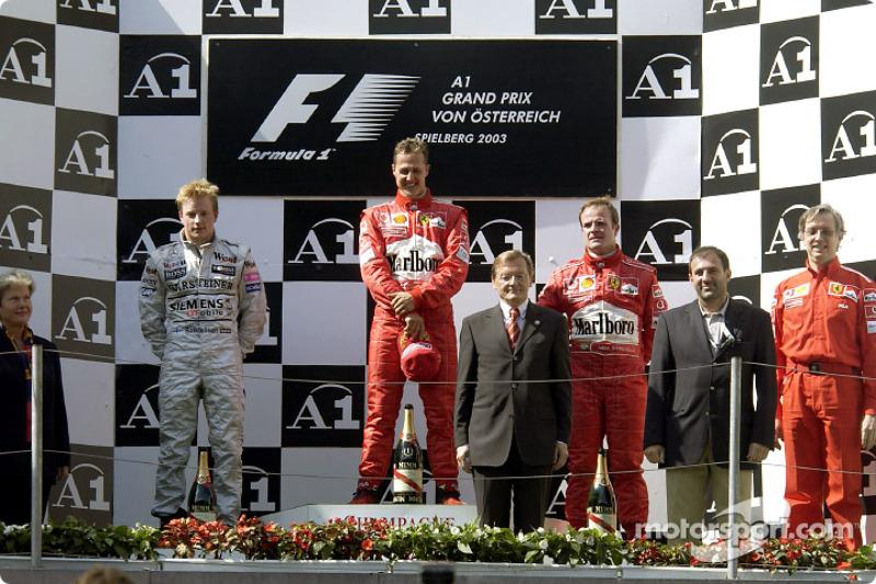 Podio: ganador de la carrera Michael Schumacher, segundo lugar Kimi Raikkonen y tercer lugar Rubens Barrichello