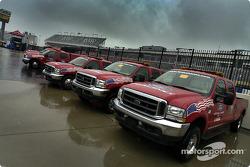 Safety trucks under the rain