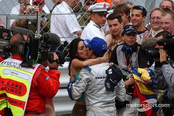 Race winner Juan Pablo Montoya celebrates win with wide Connie