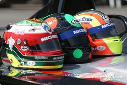 Team presentation: helmets of Max Papis, Gunnar Jeannette, Olivier Beretta