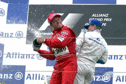 The podium: champagne for race winner Ralf Schumacher