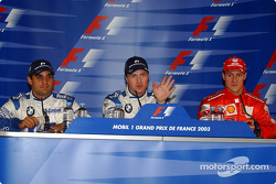 Press conference: pole winner Ralf Schumacher with Juan Pablo Montoya and Michael Schumacher