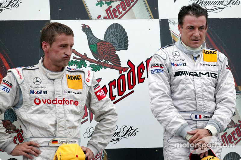 The podium: race winner Jean Alesi and Bernd Schneider