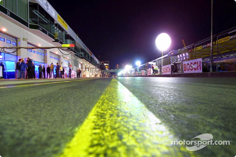 Pitlane at night