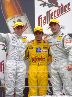 Podium: race winner Laurent Aiello with Christijan Albers and Bernd Schneider