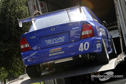 Jeff Altenburg's Mazda Protege is unloaded