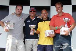Rocketsports-Tagliani karting event: media race podium, Motorsport.com's Eric Gilbert, Alex Tagliani, René Fagnan, and Sportsnet's John Bassett