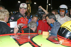 Ricky Rudd climbs out of his car straight into a TV interview about the incident