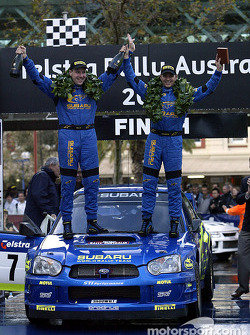 Podium: winners Petter Solberg and co-driver Phil Mills
