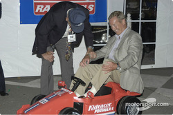 Hurley Haywood gets fitted for his next ride