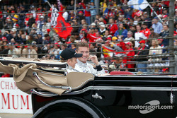Drivers parade: Kimi Raikkonen and David Coulthard
