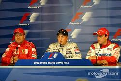 Press conference: pole winner Kimi Raikkonen with Rubens Barrichello and Olivier Panis