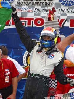 Victory lane: race winner Thiago Medeiros celebrates victory