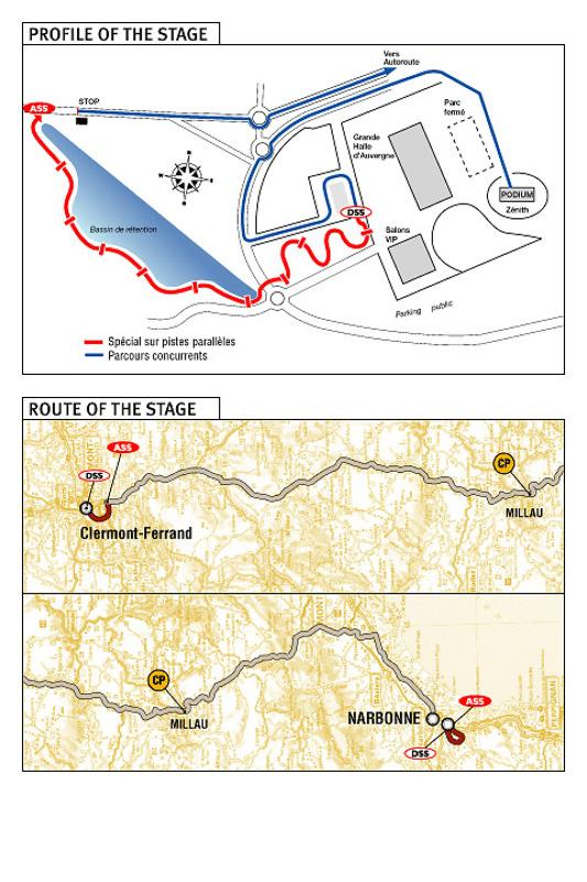 1re étape : 1er janvier, Région d'Auvergne - Narbonne