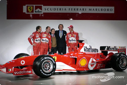 Luca Badoer, Rubens Barrichello, Jean Todt, Luca di Montezemelo and Michael Schumacher with the new Ferrari F2004
