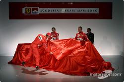 Michael Schumacher, Luca Badoer and Rubens Barrichello unveil the new Ferrari F2004