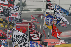 Practice action in the infield flags