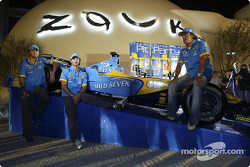 Mild Seven pit party at the Zouk Nightclub in Kuala Lumpur: Franck Montagny, Jarno Trulli and Fernando Alonso