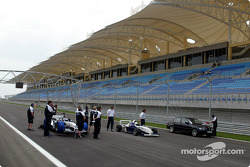 Marc Gene gets ready to drive the Williams BMW around the Bahrain International Circuit