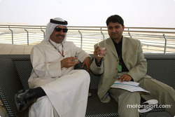 Shaikh Fawaz samples the Warrd, the new non alcoholic drink developed especially for the Bahrain Grand Prix podium celebrations