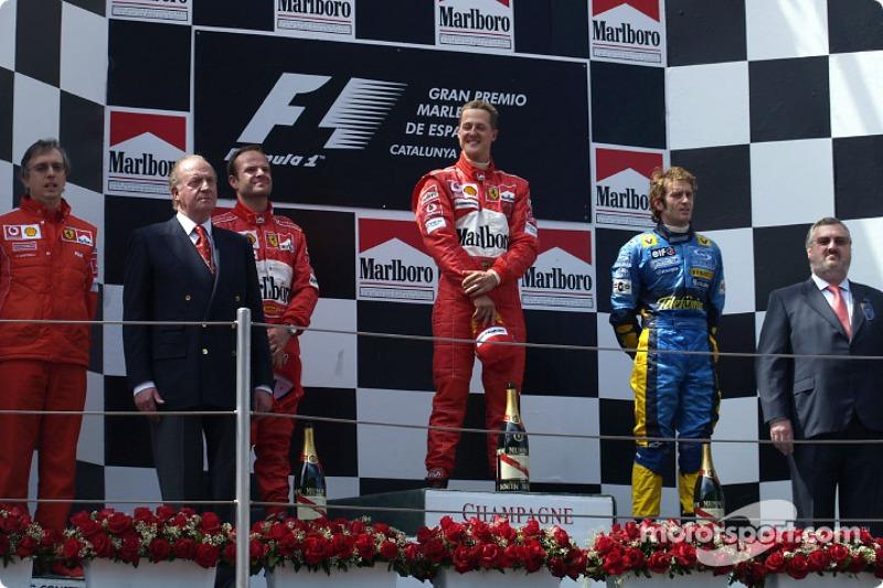 2004: 1. Michael Schumacher, 2. Rubens Barrichello, 3. Jarno Trulli
