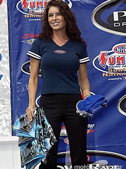 A lovely podium hostess