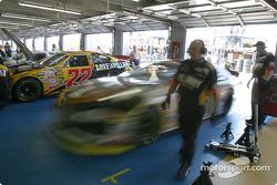 Joe Nemechek leaves garage area