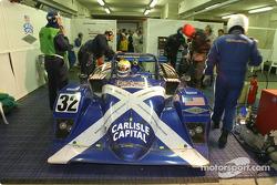 #32 Intersport Racing Lola Judd: Clint Field, William Binnie, Rick Sutherland pushed back inside the garage