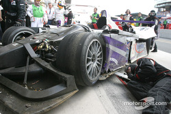 The damaged #8 Audi Sport UK Team Veloqx Audi R8