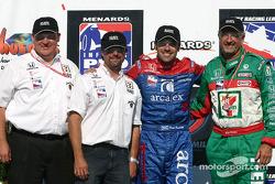Victory lane: race winner Dario Franchitti with Michael Andretti and Kim Green