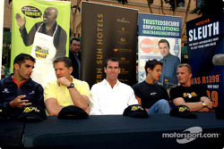 Minardi F1x2 in Johannesburg press conference: Marc Gene, Jody Scheckter, Ralph Firman and Johnny Herbert