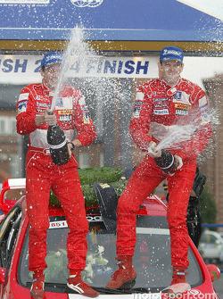 Podium: Marcus Gronholm and Timo Rautiainen celebrate win