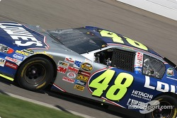 Jimmie Johnson grabs some cool air during one of the many yellow flags