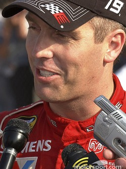Jeremy Mayfield answers a few questions after qualifying second for Sunday's Pop Secret 500