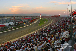Sunset skies over the speedway
