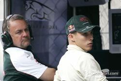 Christian Klien and Jaguar team manager Dave Stubbs