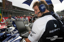 Williams-BMW team member on the starting grid