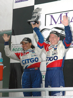 DP podium: class and overall winners Milka Duno and Andy Wallace