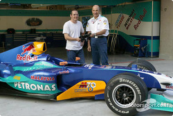Peter Sauber with Jacques Villeneuve